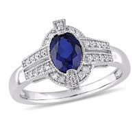 Miadora 10k White Gold Created Blue and White Sapphire Diamond Halo Ring