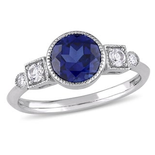 Miadora 10k White Gold Created Blue and White Sapphire and Diamond Ring