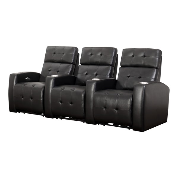 Abbyson Teagan 3-piece Top Grain Leather Power Media Recliners
