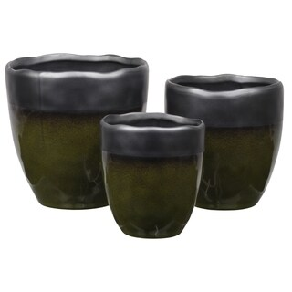 Urban Trends Stoneware Round Pot with Irregular Rim Mouth and Speckle Design Body in Gloss Finish, Olive Green - Set of 3 - N/A