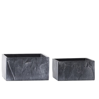 Urban Trends Cement Wide Square Pot with Slate Texture Design Body in Painted Finish, Dark Gray - Set of 2