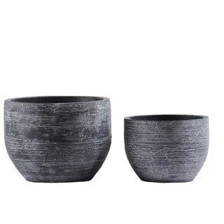 Urban Trends Cement Low Round Pot with Tapered Bottom in Combed Finish, Dark Gray - Set of 2