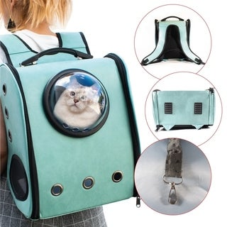 ALEKO Luxury Astronaut Bubble Window Pet Backpack Light Blue Green