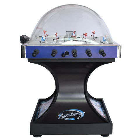 Breakaway Dome Hockey Table with E-Z Grip Handles and LED Scoring Unit - Black/Blue