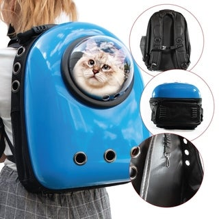 ALEKO Astronaut Bubble Window Hard Shell Pet Backpack Blue Shell