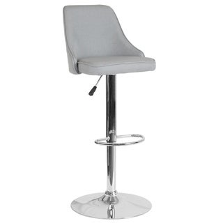 """Contemporary Adjustable Height Barstool in LeatherSoft - Kitchen Furniture - 18""""W x 19""""D x 35.75"""" - 44.25""""H"""