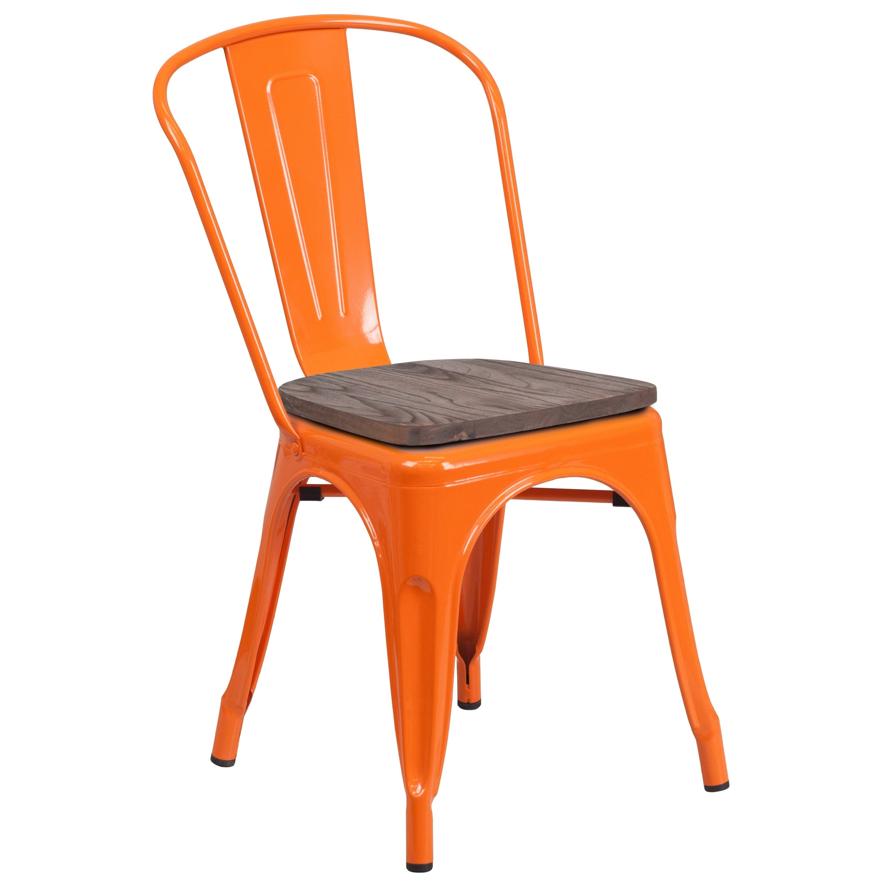 INDUSTRIAL VINTAGE STACKING CHAIR ORANGE PLASTIC SEAT STACKABLE CAFE CHAIR