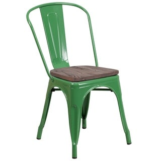 "Metal Stackable Chair with Wood Seat - 18""W x 20""D x 33""H"