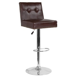 Lancaster Home Ravello Contemporary Tufted Upholstery Adjustable Height Barstool with Accent Nail Trim