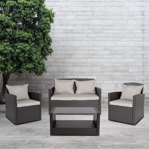 Aransas Series 4 Piece Patio Set with Back Pillows and Seat Cushions