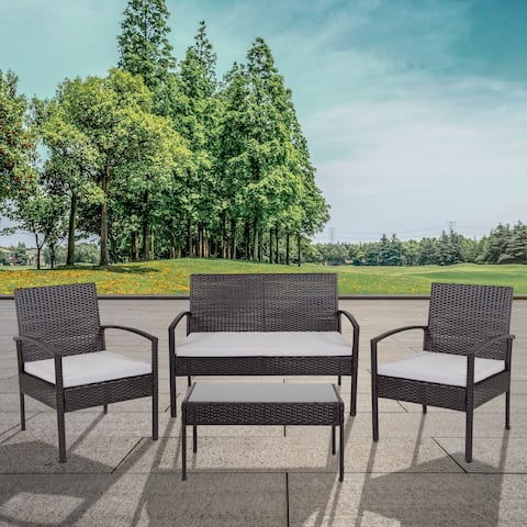 Aransas Series 4 Piece Patio Set with Steel Frame and Cushions