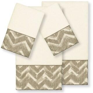 Authentic Hotel and Spa Turkish Cotton Chevron Jacquard Trim Cream 4-piece Towel Set