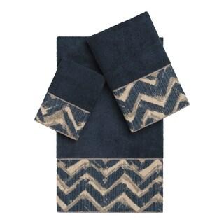Authentic Hotel and Spa Turkish Cotton Chevron Jacquard Trim Midnight Blue 3-piece Towel Set