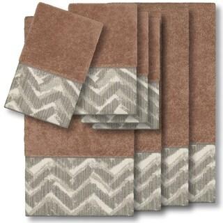 Authentic Hotel and Spa Turkish Cotton Chevron Jacquard Trim Latte Brown 8-piece Towel Set