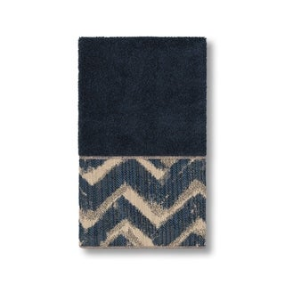Authentic Hotel and Spa Turkish Cotton Chevron Jacquard Trim Midnight Blue Hand Towel