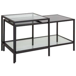 Multi-Tiered Glass Coffee Table with Black Metal Frame - Home Furniture
