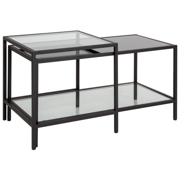 Lancaster Home Westerly Black Multi Tiered Glass Coffee Table