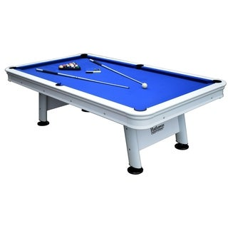 Alpine 8-ft Outdoor Pool Table with Aluminum Frame and Waterproof, UV-Resistant Felt - Includes Accessories - White