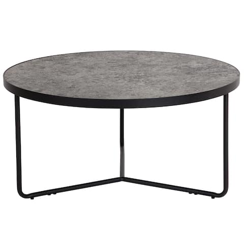 """31.5"""" Round Coffee Table in Concrete Finish - 31.5""""W x 31.5""""D x 15.5""""H"""