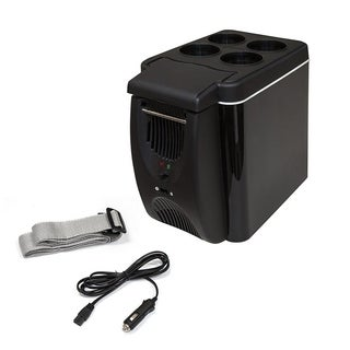 ALEKO Cooler and Warmer Mini Car Fridge Compact Black Color