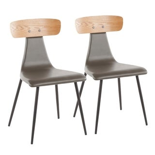 Link to Elio Contemporary Chair in Metal, Faux Leather, and Wood (Set of 2) Similar Items in Accent Chairs