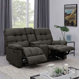 ProLounger Dark Grey Tufted Velvet 2 Seat Recliner Loveseat with Power Storage Console