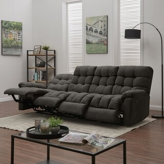 ProLounger Dark Grey Tufted Velvet 4 Seat Recliner Sofa