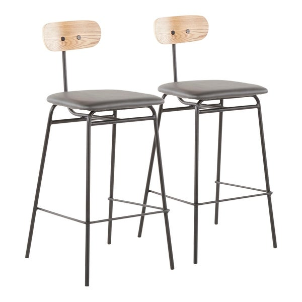 Elio Counter Stool in Metal, Wood, and Faux Leather (Set of 2)