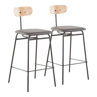 Shop Comet Adjustable Height Faux Leather Stool Set Of 2