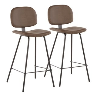 Carbon Loft Harney Industrial Counter Stool in Metal and Faux Leather (Set of 2)