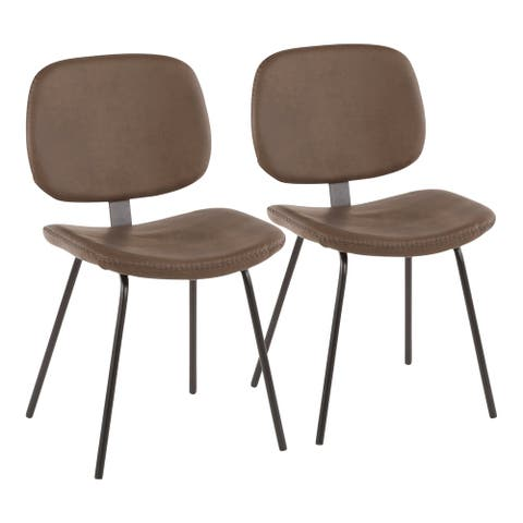 Carbon Loft Harney Industrial Chair in Metal and Faux Leather (Set of 2)