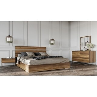 Mazzini Italian Modern Light Oak Bedroom Set