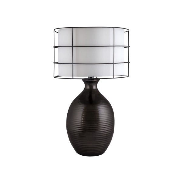 Shop Fangio Lighting Ribbed Oval Pot Black Ceramic Table Lamp Free