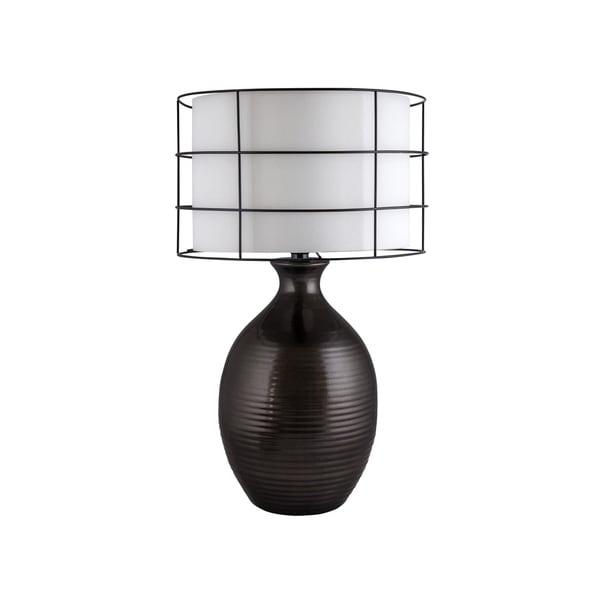 Fangio Lighting Ribbed Oval Pot Black Ceramic Table Lamp
