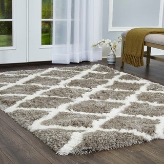 "Paramount Diamond Gray-White Shag Area Rug by ELLE Home - 7'8""x10'2"""