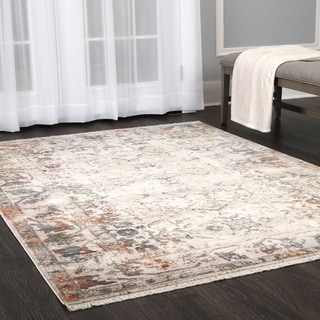 "Stratford Vintage Persian Ivory-Multi Fringed Area Rug by ELLE Home - 5'2""x 7'8"""