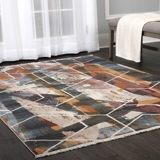 "Stratford Abstract Lines Multi Fringed Area Rug by ELLE Home - 7'10""x10'2"""