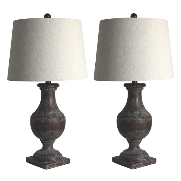 Two Luxury Lamps Without The Luxury Price! Fangio Lighting's 6265BRZ Pair of 28 in. Resin Table Lamps in Cottage Bronze Esp