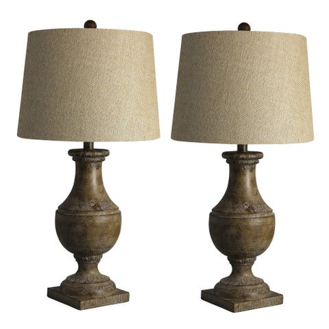 Two Luxury Lamps Without The Luxury Price! Fangio Lighting's 6265COF Pair of 28 in. Resin Table Lamps in Cottage Coffee