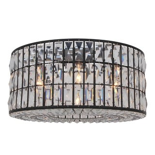 The Monroe Black Finish Glass/Clear Crystal Round Flush-mount Chandelier