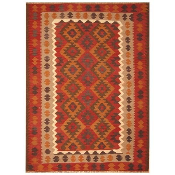Handmade Mimana Wool Kilim (Afghanistan) - 6'9 x 9'1