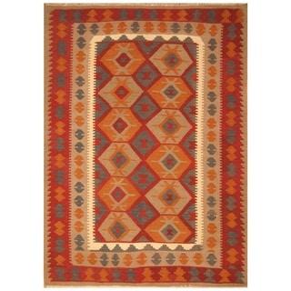 Handmade One-of-a-Kind Mimana Wool Kilim (Afghanistan) - 6'7 x 9'
