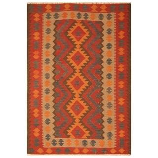 Handmade One-of-a-Kind Mimana Wool Kilim (Afghanistan) - 6'3 x 9'