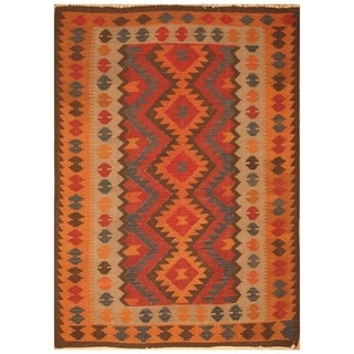 Handmade One-of-a-Kind Mimana Wool Kilim (Afghanistan) - 6'3 x 9'2