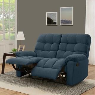 ProLounger Medium Blue Tufted Velvet 2 Seat Recliner Loveseat