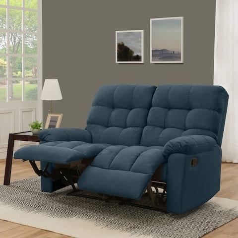 Copper Grove Gramsh Medium Blue Tufted Velvet 2-seat Recliner Loveseat