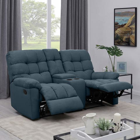 Copper Grove Gramsh Medium Blue Tufted Velvet 2-seat Recliner Loveseat with Power Storage Console