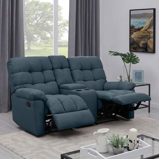 ProLounger Medium Blue Tufted Velvet 2 Seat Recliner Loveseat with Power Storage Console