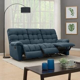 ProLounger Medium Blue Tufted Velvet 3 Seat Recliner Sofa