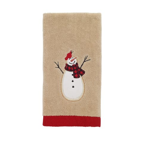 Snowmen Gathering Fingertip Towel - Tan